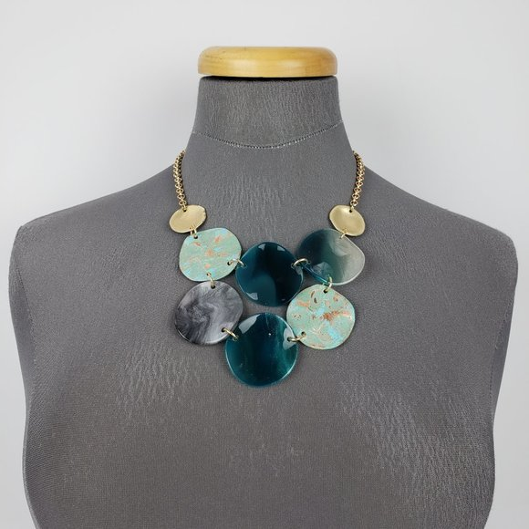 Gold & Blue Statement Necklace